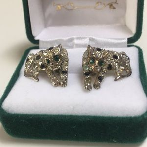 Designer style rhinestone jeweled jaguar earring